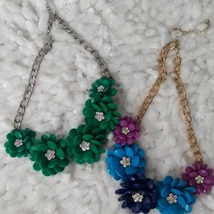 2 Floral choker necklaces,  costume jewelry